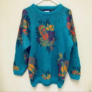 {Vintage} Espirit Sport Turquoise Sweater Ukulele